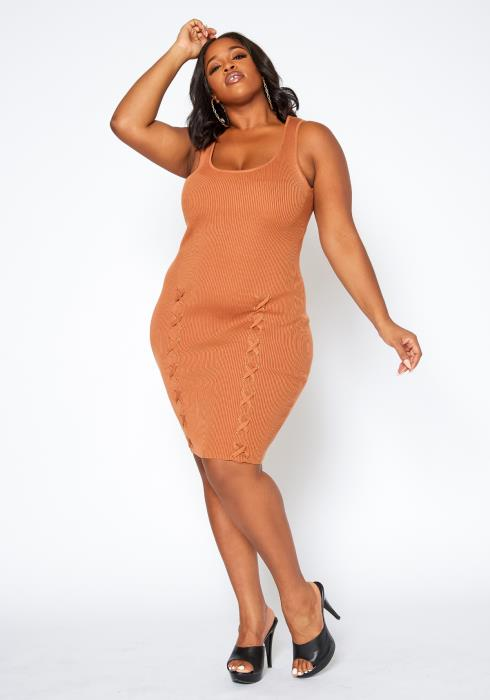 Asoph Plus Size Cross Lace Hem Bodycon Dress