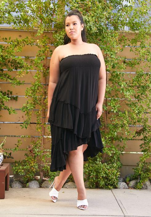 Asoph Smocked Layered Ruffle Dress