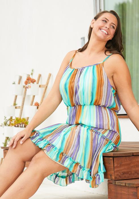 Asoph Plus Size Multi Ruffle Dress