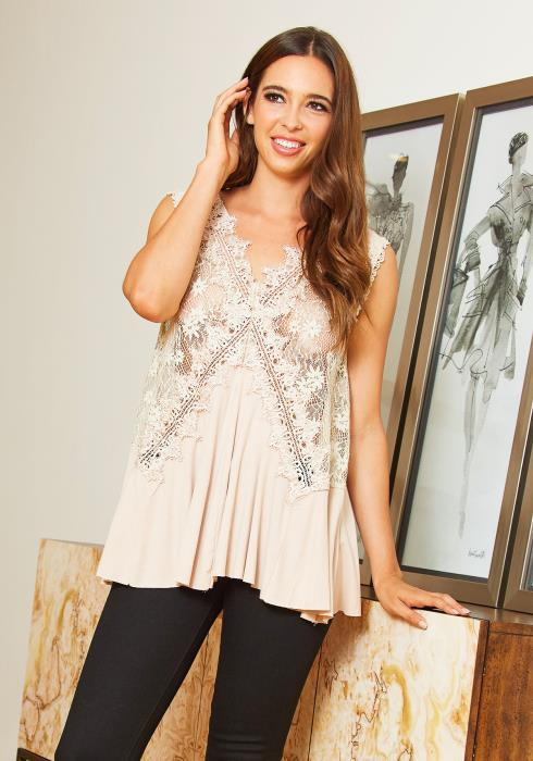 Tansy Charming Sheer Laced Loose Fitting Women Blouse
