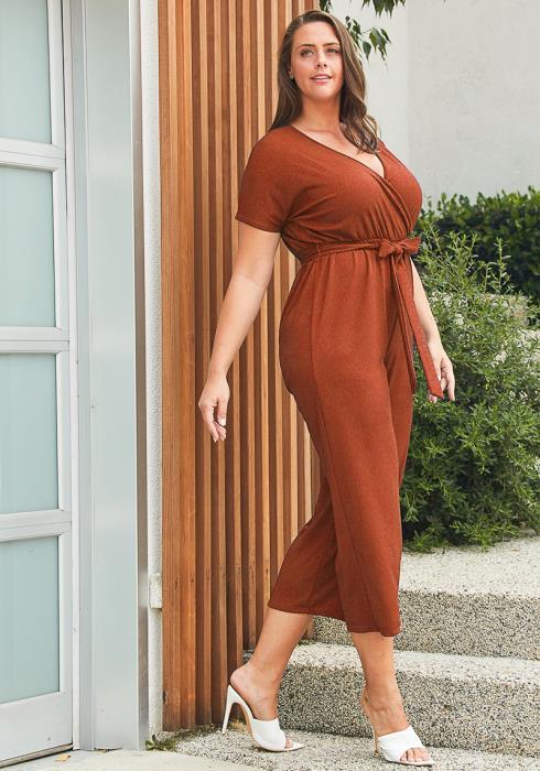 Asoph Plus Size Textured Wrap Jumpsuit