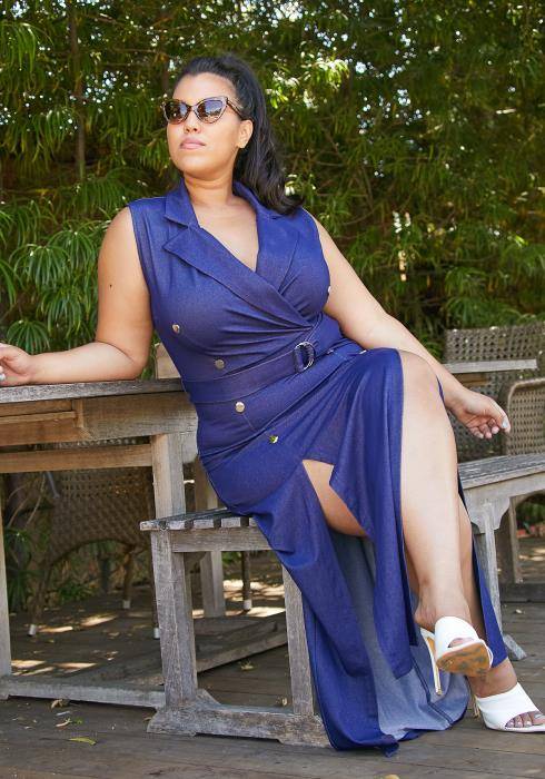 Asoph Plus Size Womens Sleeveless Denim Maxi Dress