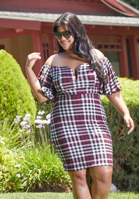 Asoph Plus Size Plaid Sweetheart Dress