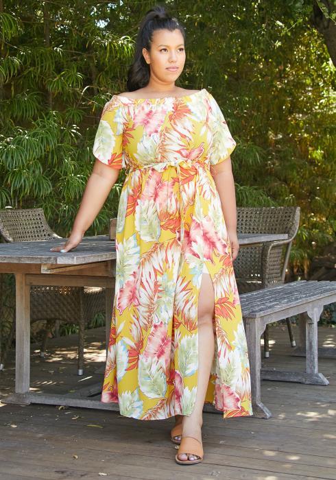 Asoph Plus Size Off Shoulder Leaf Dress