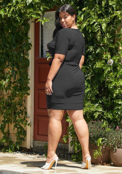 Asoph Plus Size Tie Waist Bodycon Dress