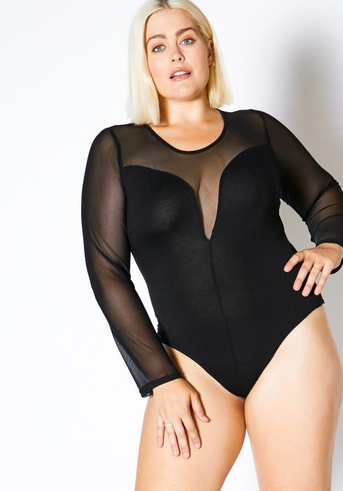 Asoph Plus Size Womens Contrast Mesh Long Sleeve Bodysuit