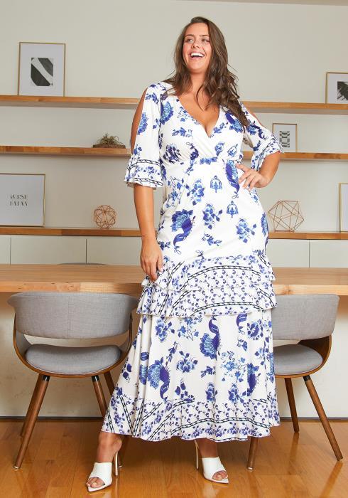 Asoph Layered Ruffle Multi Maxi Dress