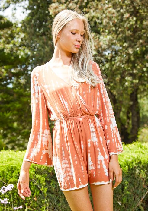 Tansy Orange Soda Tie Dye Romper