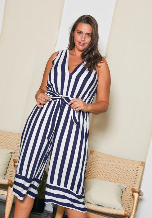 Asoph Plus Size Summer Stripe Jumpsuit