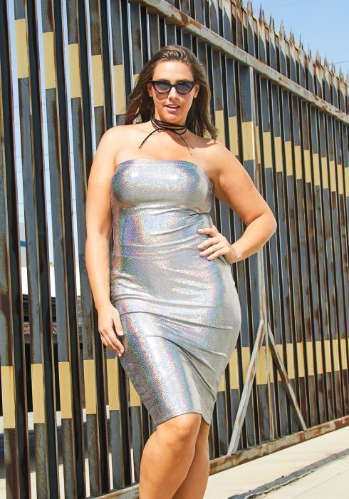Asoph Plus Size Tube Top Glitter Dress