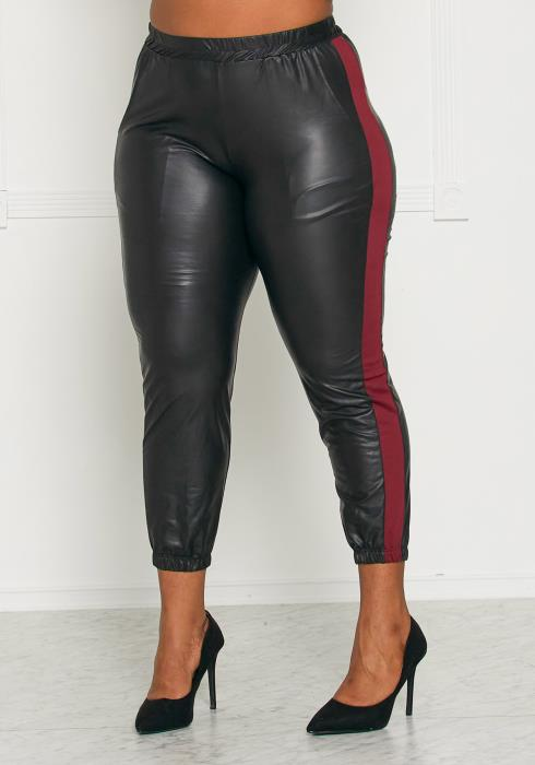 Asoph Plus Size Red Striped Faux Leather Pants
