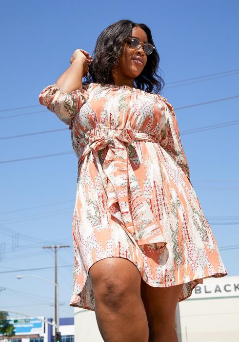 Asoph Plus Size Multi Print Off Shoulder Dress