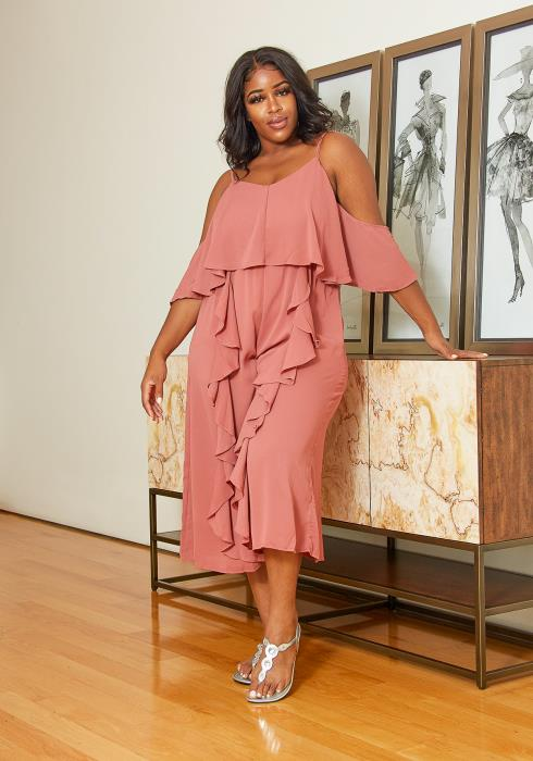 Asoph Plus Size Ruffle Cropped Jumpsuit