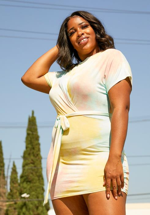 Asoph Plus Size Tie Dye Mini Dress
