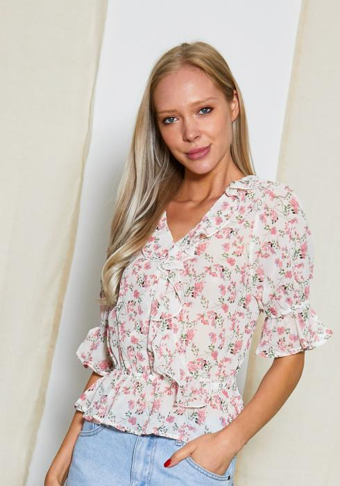 Tansy Floral Summer Chiffon Blouse