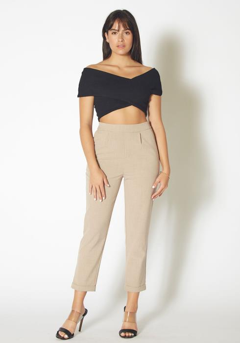 Tansy Overlapped Off Shoulder Womens Crop Top