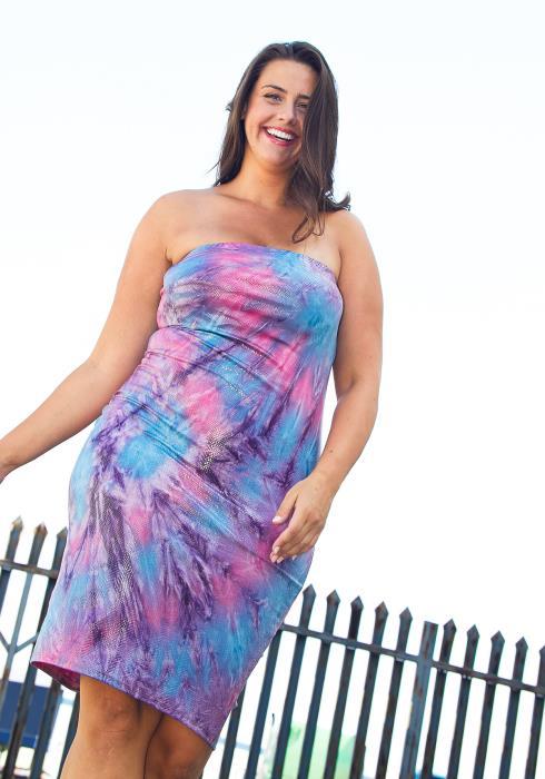 Asoph Plus Size Tie Dye Tube Top Dress