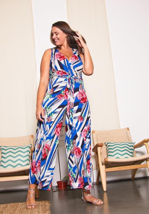 Asop Plus Size Mixed Print Jumpsuit