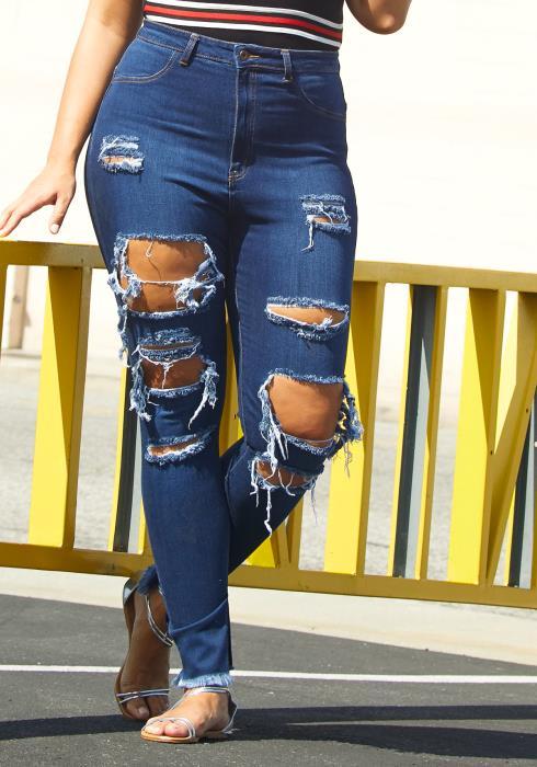 Asoph Plus Size Ripped Slit Hem Jean