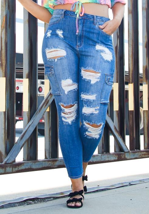 Asoph Plus Size Utility Pocket Jean