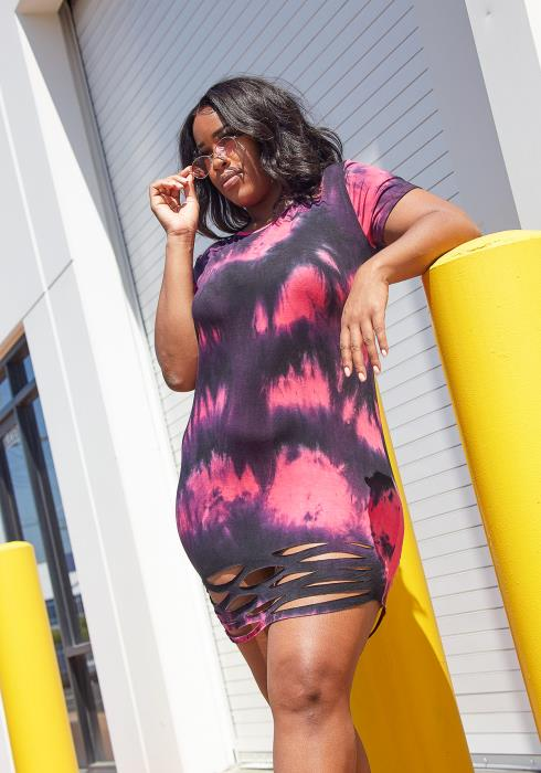 Asoph Plus Size Ripped Hem Tie Dye Dress