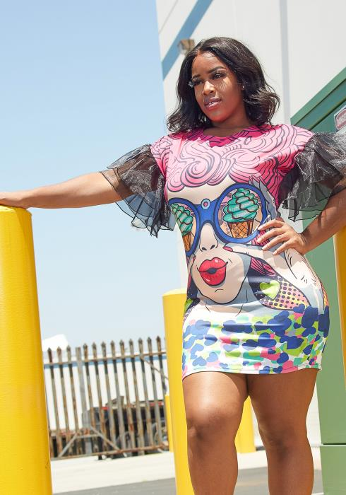 Asoph Plus Size Graphic Print Dress
