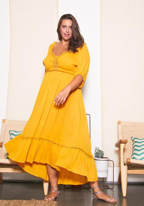 Asoph Plus Size Vintage Textured Maxi Dress