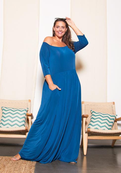 Asoph Plus Size Off Shoulder Royal Maxi Dress