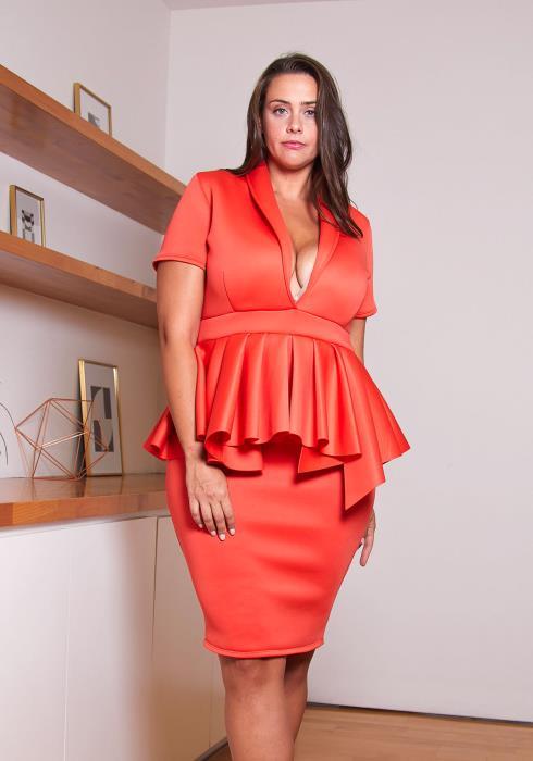 Asoph Plus Size Deep Cut Peplum Party Dress