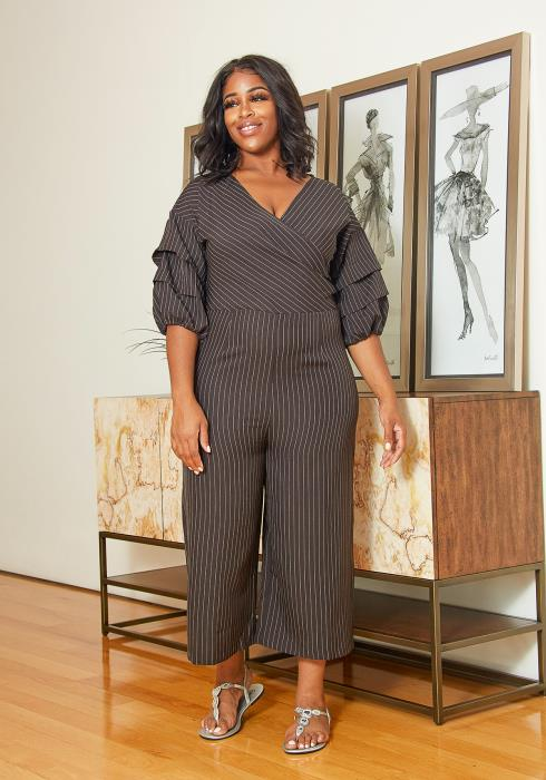 Asoph Plus Size Striped Wrap Jumpsuit