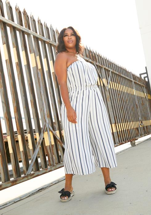 Asoph Plus Size Striped Tube Top Jumpsuit