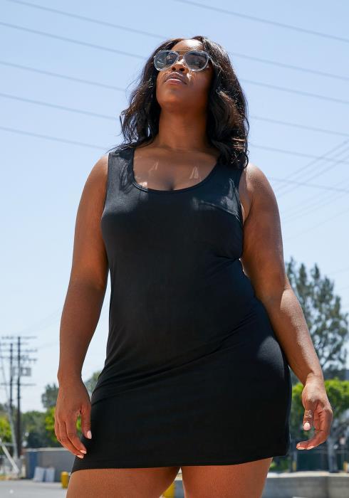 Asoph Plus Size Sleeveless Strappy Back Bodycon Dress