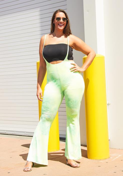Asoph Plus Size Lime Squeeze Tie Dye Pants