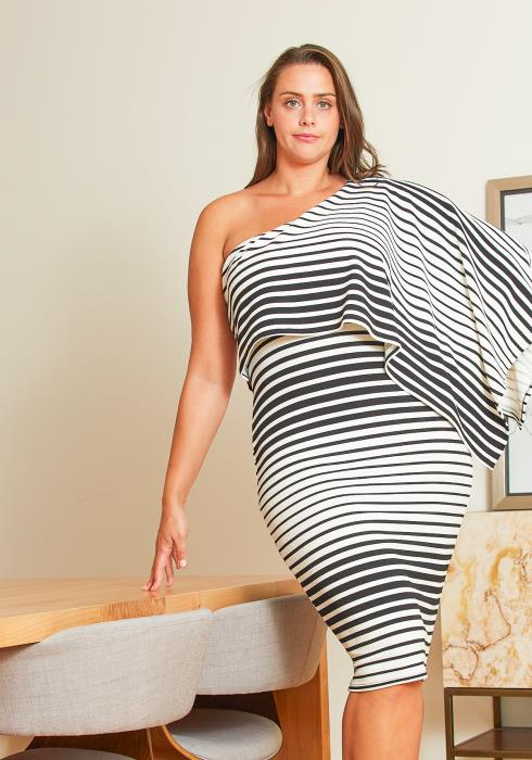 Asoph Plus Size One Shoulder Cape Dress