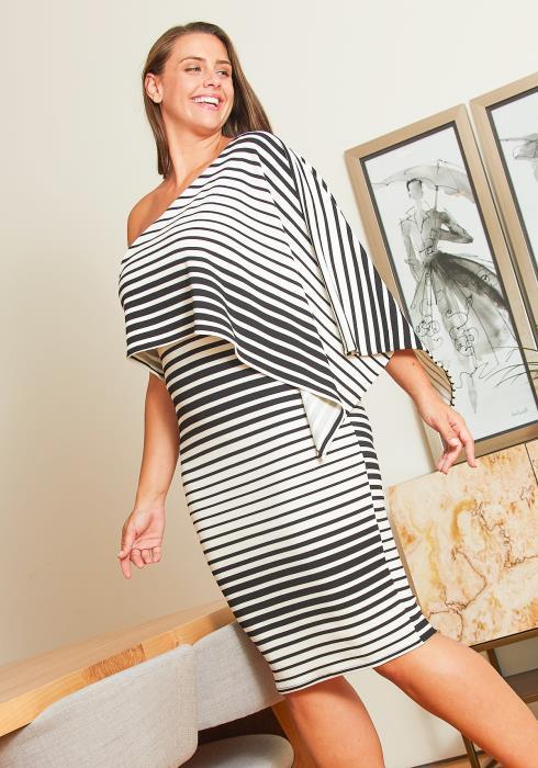 Asoph Plus Size One Shoulder Cape Dress