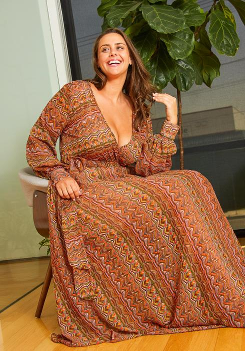 Asoph Plus Size Ethnic Print Maxi Dress