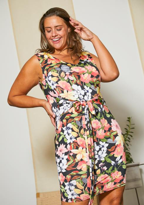 Asoph Plus Size Sleeveless Floral Tie Dress