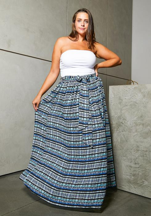 Asoph Plus Size Printed Maxi Skirt