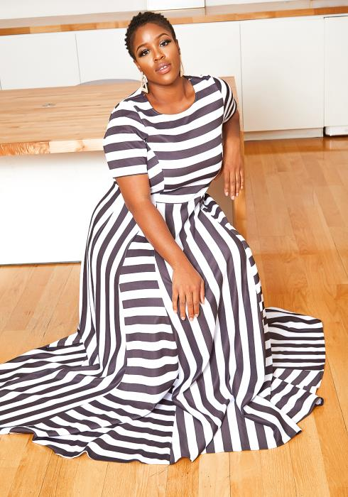 Asoph Plus Size Striped Design Fit & Flare Maxi Dress