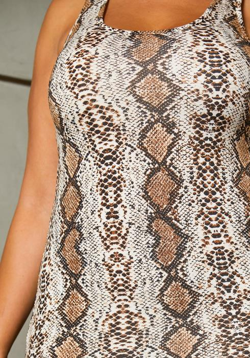 Asoph Plus Size Sleeveless Snake Bodycon Dress