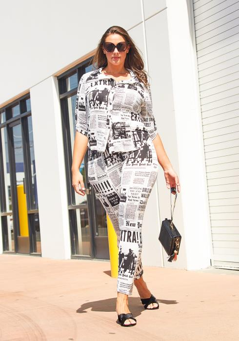 Asoph Plus Size Newspaper Two Piece Set