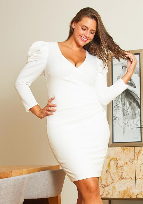 Asoph Plus Size Puffy Shoulder Party Dress