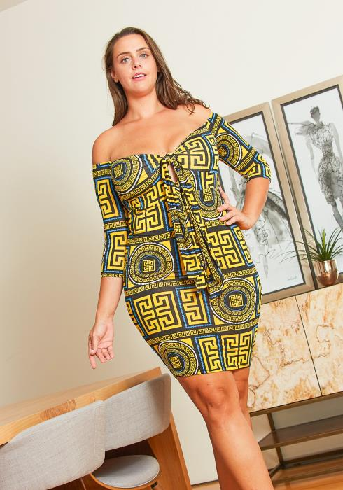 Asoph Plus Size Abstract Tie Front Dress