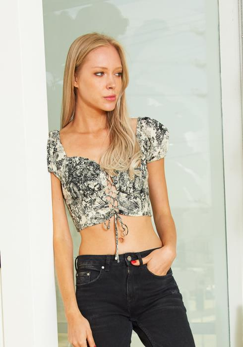Tansy Womens Lace Up Crop Top