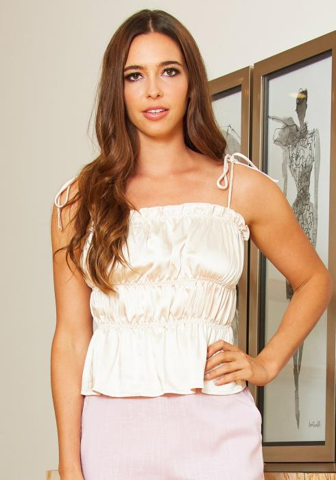 Tansy Womens Vintage Cream Satin Cami Ruched Blouse