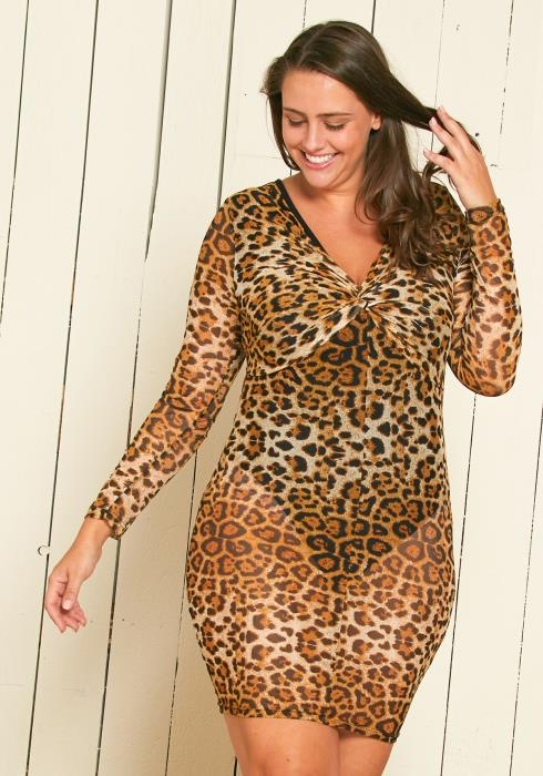 Asoph Plus Size Leopard Mesh Dress
