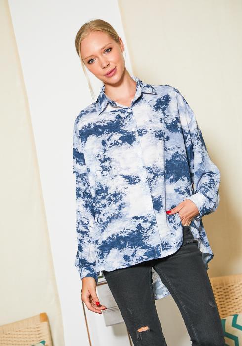 Tansy Tie Dye Button Up Shirt Blouse