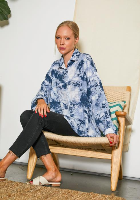 Tansy Tie Dye Button Up Shirt Blouse