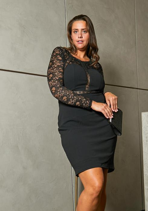 Asoph Plus Size Lace Trim Party Dress