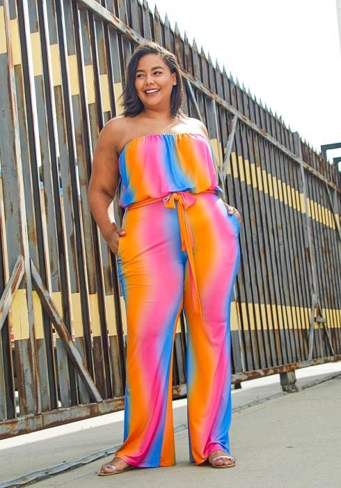 Asop Plus Size Gradient Stripe Womens Jumpsuit